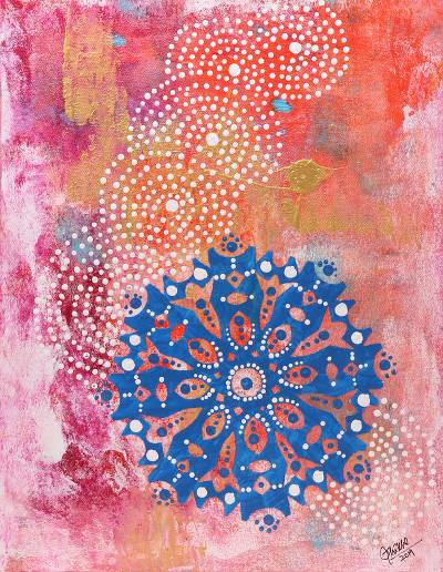 Signed Chakra Painting in Blue and Pink from India