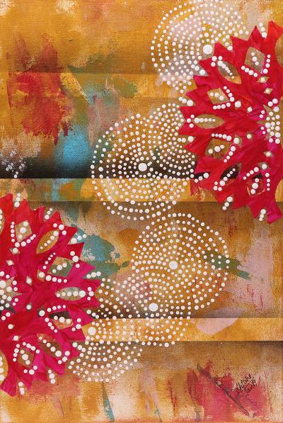 Signed Flower Painting in Yellow and Red from India