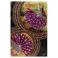 'Queen of Fall Flowers' - Signed Flower Painting in Purple from India