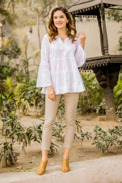 Cotton blouse, 'Floral White' - Floral Embroidered White Cotton Blouse from India