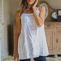Cotton tank top, 'Beautiful Summer' - Floral Embroidered White Cotton Tank Top from India