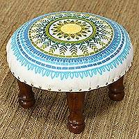 Rayon-embroidered cotton stool, 'Rajasthani Mandala' - Floral Embroidered Cotton Stool from India