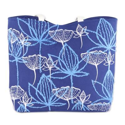 Embroidered Floral Cotton Tote in Lapis from India