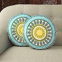 Cotton cushion covers, 'Beautiful Mandalas' (pair) - Mandala Motif Round Cotton Cushion Covers (Pair)