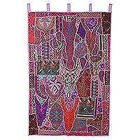 Recycled cotton blend patchwork wall hanging, 'Garden Glory' - Colorful Recycled Cotton Blend Wall Hanging from India