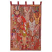 Recycled cotton blend patchwork wall hanging, 'Paisley Bloom' - Paisley Recycled Cotton Blend Wall Hanging from India