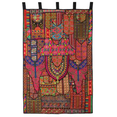 Recycled cotton blend patchwork wall hanging, 'Indian Flavor' - Multicolored Recycled Cotton Blend Wall Hanging from India