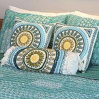 Cotton bolster cushion cover, 'Mandala Glory' - Mandala Pattern Embroidered Cotton Bolster Cover from India