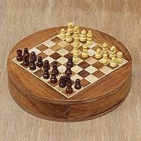 Wood chess set, 'Brain Power' - Acacia and Haldu Wood Chess Set from India
