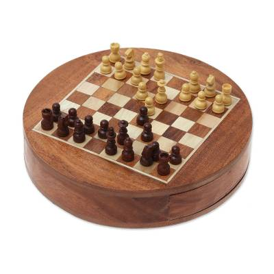 Acacia and Haldu Wood Chess Set from India