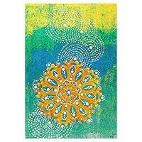 'Manipura Chakra I' - Signed Chakra Painting in Orange and Green from India