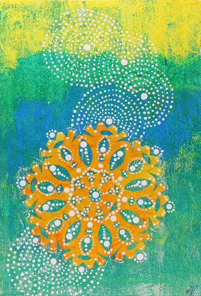 Signed Chakra Painting in Orange and Green from India