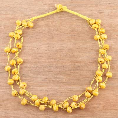 Bone torsade necklace, 'Sunny Orbs' - Round Bone Beaded Torsade Necklace from India