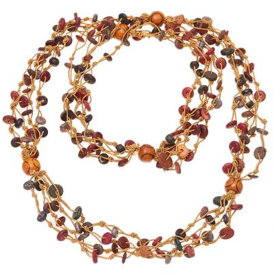 Colorful Wood Beaded Torsade Necklace from India