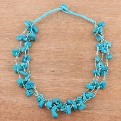 Bone torsade necklace, 'Stylish Bohemian in Blue' - Bone Beaded Torsade Necklace in Blue from India