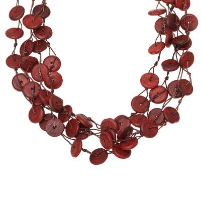 Wood Beaded Torsade Necklace in Red from India