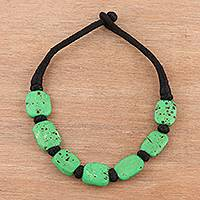Bone beaded necklace, 'Lush Delight' - Bone Beaded Necklace in Green from India