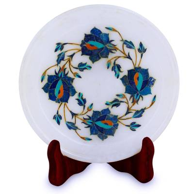 Blue Floral Motif Marble Inlay Decorative Plate from India
