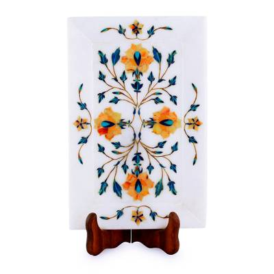 Golden Rose Motif Marble Inlay Decorative Plate from India