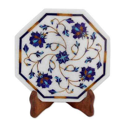 Floral Motif Marble Inlay Decorative Plate from India