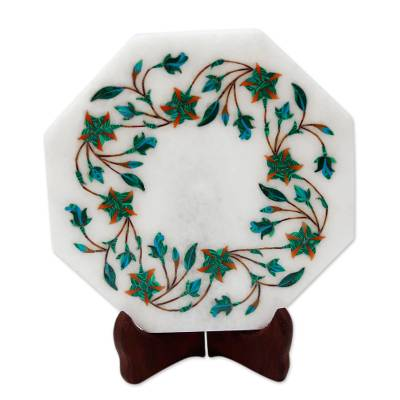 Green Floral Marble Inlay Decorative Plate from India