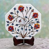 Marble inlay decorative plate, 'Mughal Magic' - Flower Motif Marble Inlay Decorative Plate from India