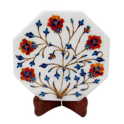 Flower Motif Marble Inlay Decorative Plate from India