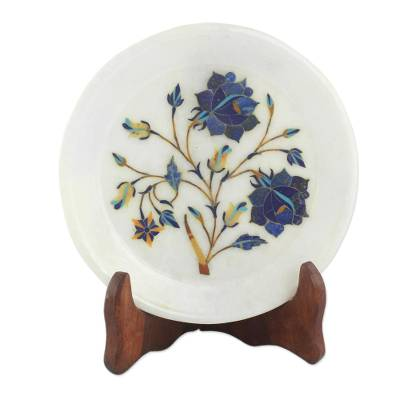 Daisy Motif Marble Inlay Decorative Plate from India