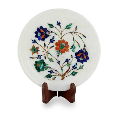 Colorful Marble Inlay Decorative Plate from India