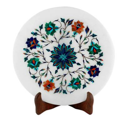 Elegant Floral Marble Inlay Decorative Plate from India