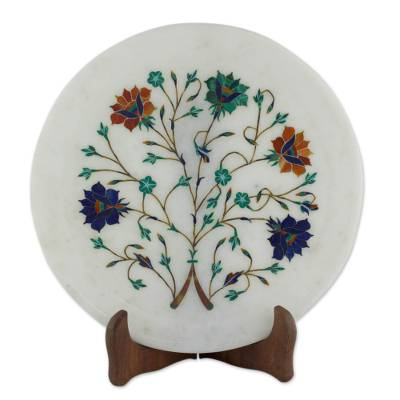 Bouquet Motif Marble Inlay Decorative Plate from India
