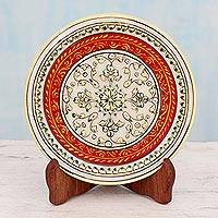 Marble plate, 'Golden Floral Symmetry' - Red Bordered Makrana Marble Display Plate with 22k Gold
