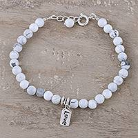 Howlite beaded bracelet, 'Love Elegance' - Love-Themed Howlite Beaded Bracelet from India