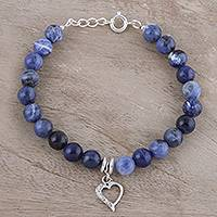 Sodalite beaded bracelet, 'Love is in the Heart' - Heart Charm Sodalite Beaded Bracelet from India