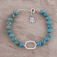 Sterling silver and composite turquoise beaded pendant bracelet,
