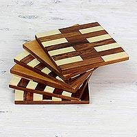 Wood and bone coasters, 'Lattice Elegance' (set of 6) - Mango Wood and Bone Coasters from India (Set of 6)