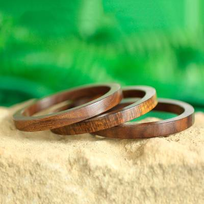 Mango wood bangle bracelets, 'Fashionable Trio' (set of 3) - Set of 3 Hand-Carved Mango Wood Bangle Bracelets from India