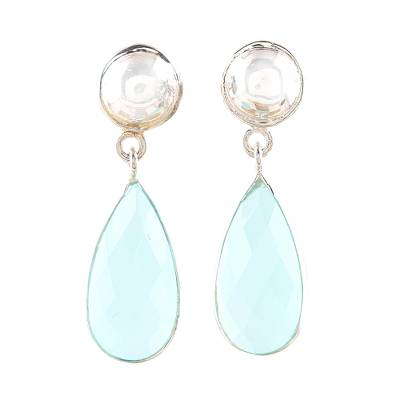 10-Carat Aqua Chalcedony Dangle Earrings from India