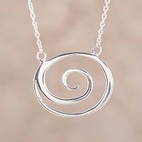 Sterling silver pendant necklace, 'Swirl Delight' - Swirl-Shaped Sterling Silver Pendant Necklace