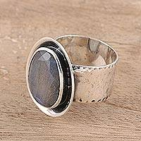 Labradorite cocktail ring, 'Oval Charm' - Labradorite Cocktail Ring Crafted in India