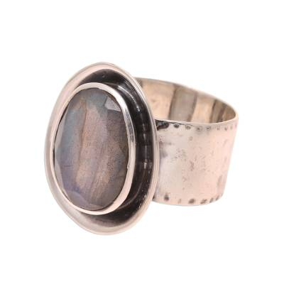 Labradorite Cocktail Ring Crafted in India