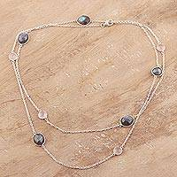 Labradorite and rose quartz station necklace, 'Eternal Fusion' - Labradorite and Rose Quartz Station Necklace from India