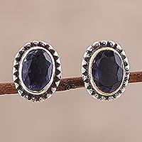 Iolite stud earrings,
