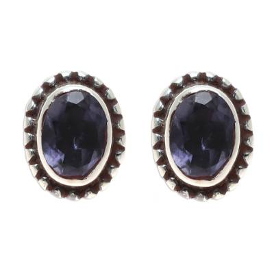 Iolite Stud Earrings Crafted in India