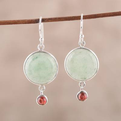 Aventurine and garnet dangle earrings, 'Glorious Combination' - Aventurine and Garnet Dangle Earrings from India