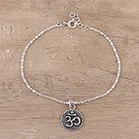 Sterling silver chain bracelet, 'Om of Peace' - Sterling Silver Om Bracelet Crafted in India