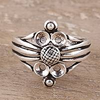 Sterling silver band ring, 'Wonderful Loops' - Loop Pattern Sterling Silver Band Ring Crafted in India