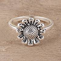 Sterling silver cocktail ring, 'Blissful Allure' - Floral Sterling Silver Cocktail Ring Crafted in India