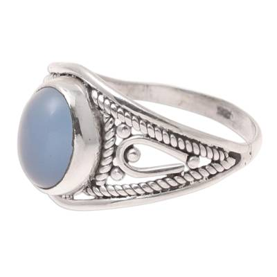 Oval Chalcedony Cocktail Ring Crafted in India