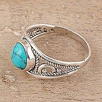 Sterling silver and reconstituted turquoise cocktail ring, 'Turquoise Charm' - Sterling Silver and Reconstituted Turquoise Cocktail Ring